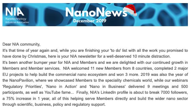Christmas NanoNews!   NIA News